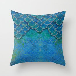 Handpainted Mermaid Dragon Scale Watercolor Throw Pillow