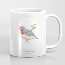 Haruki Murakami's The Wind-Up Bird Chronicle // Illustration of a Bird with a Wind-up Key in Pencil Coffee Mug