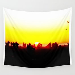 Sun sets by People  Wall Tapestry