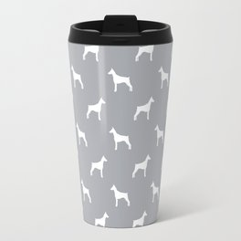 Doberman Pinscher dog pattern grey and white minimal dog breed silhouette dog lover gifts Travel Mug