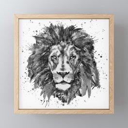 Black and White Lion Head Framed Mini Art Print