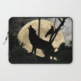Howling Wolf Crow Moon Animal Black Bird Silhouette Art A388 Laptop Sleeve