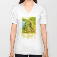 crocodile V-neck T-shirts featuring Crocodile by Natalie Berman