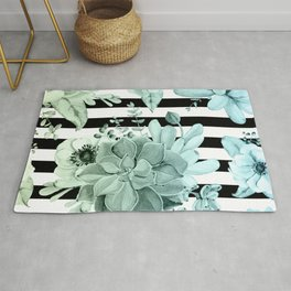 Succulents in the Garden Teal Blue Green Gradient with Black Stripes Rug