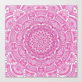 Pink Magenta Detailed Ethnic Eclectic Mandala Mandalas Canvas Print