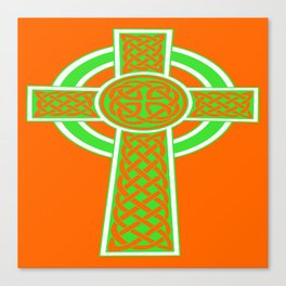 St Patrick's Day Celtic Cross Green and White Canvas Print