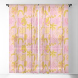 Brushstrokes Abstract - pink & gold Sheer Curtain