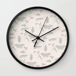 Insectology:  Insect Scatter on White Botanical Stencil Print Wall Clock