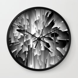 Flowers Exploding with Glitch in Black and White Wall Clock