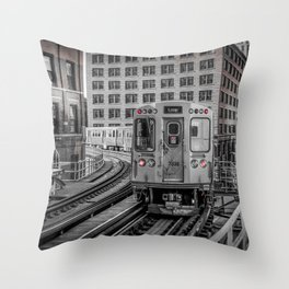 El Train Departing Merchandise Mart Chicago Train L Train Windy City Transit CTA Throw Pillow