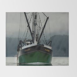 Commercial Fishing Boat Photography Print Throw Blanket