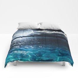 Full Moon over Ocean Comforters