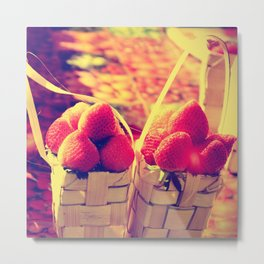 Strawberry Baskets Metal Print