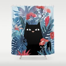Popoki in Blue Shower Curtain