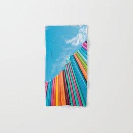Colorful Rainbow Pipes Against Blue Sky Hand & Bath Towel