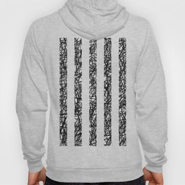 Scribble Bars - Abstract, stripy, stripey, black ink scribbles pattern, black and white Hoody
