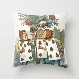 Alice in Wonderland - Painting the roses Throw Pillow