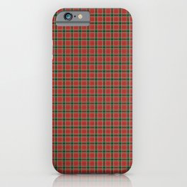 Christmas Red and Dark Green Tartan with Double White Lines iPhone Case