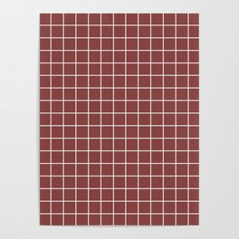 Brandy - purple color - White Lines Grid Pattern Poster