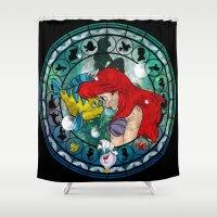 ariel Shower Curtains featuring Ariel by Mazuki Arts