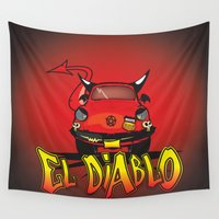 diablo Wall Tapestries featuring El Diablo/hell car by mangulica