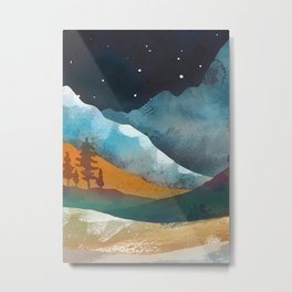 An otline of the snowy mountainside under the starlight Metal Print
