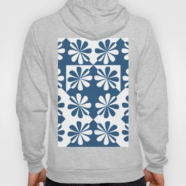 Mid century flowers white and blue Hoody