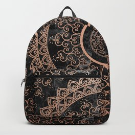 Mandala - rose gold and black marble Backpack