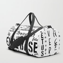 Double Plus Good Banned Words in Black and White Duffle Bag