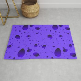 Large blueberry drops and petals on a light background in nacre. Rug