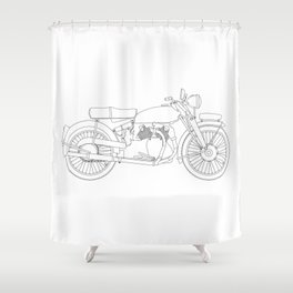 Motor Cycle Outline Shower Curtain