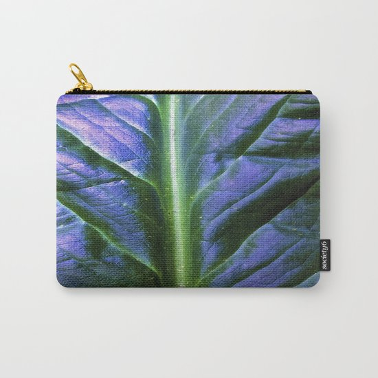 Purple Green Leaf Carry-All Pouch