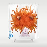 leo Shower Curtains featuring Leo by Aloke Design