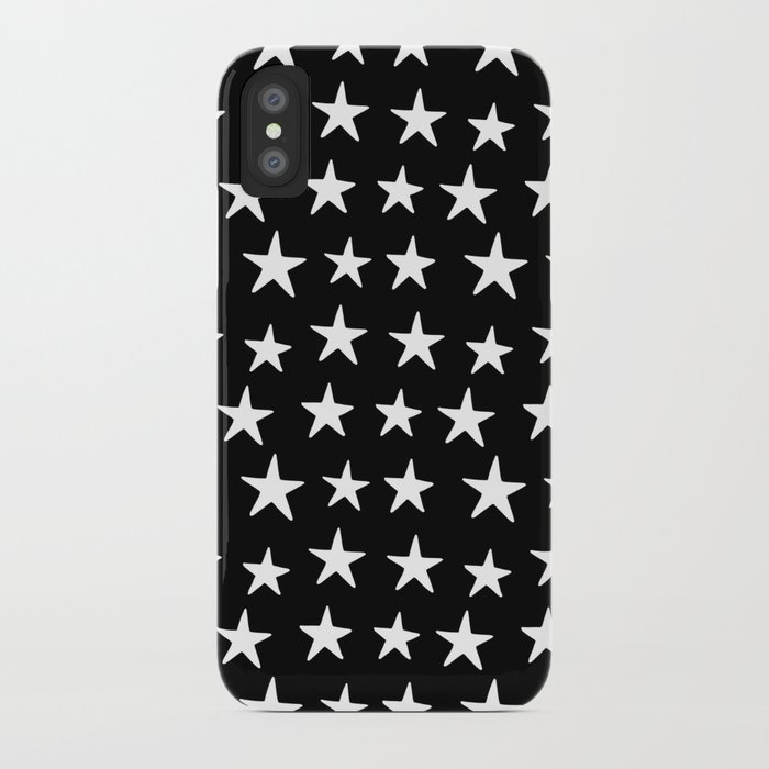 Star Pattern White On Black iPhone Case