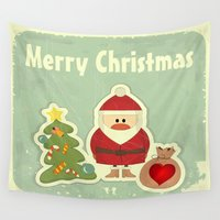 merry christmas Wall Tapestries featuring Merry Christmas by Cs025