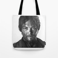 daryl Tote Bags featuring Daryl Dixon by Mike Robins