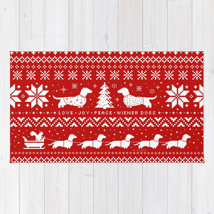 Love Joy Peace Wiener Dogs Rug