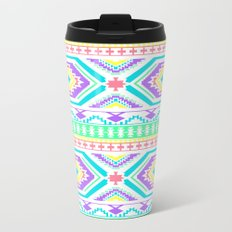 Aztec Geometric Print - Pastel bright colours Travel Mug