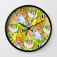 sloths Wall Clocks featuring Sloths by Vincy Cheung