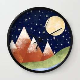 Full Moon In The Mountains Wall Clock