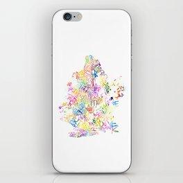 Typographic Brooklyn - Multi Color Watercolor map art iPhone Skin