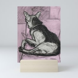 Watching and Waiting in Pink Mini Art Print