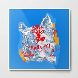 Thank You Bag - Have a Nice Day - Contour Line Drawing Metal Print