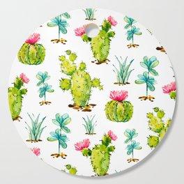 Green Cactus Watercolor Cutting Board