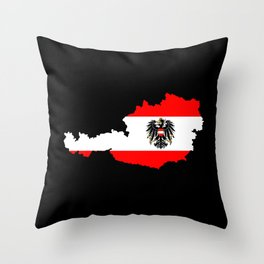 Austrian Flag and Map Throw Pillow
