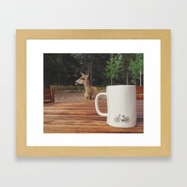 Coffee with a Deer Friend Framed Art Print