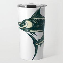 Blue Marlin Jump Scratchboard Travel Mug