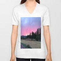 madrid V-neck T-shirts featuring atardecer Madrid by Maritserg