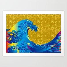 Hokusai Big Wave on Gold-leaf Screen Art Print