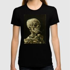 Vincent van Gogh - Skull of a Skeleton with Burning Cigarette LARGE Womens Fitted Tee Black